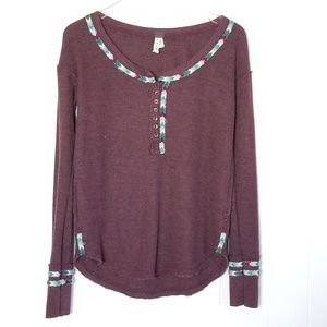 Free People | Rainbow Thermal Tee In Wine Sz.S